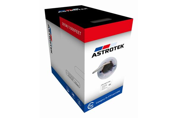 Astrotek CAT5 FTP Cable 305m - Full Copper Wire Ethernet LAN Network Roll Grey 24AWG 0.50cu Solid 2x4p PVC Jacket