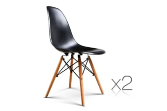 Set of 2 Replica Eames Eiffel Dining Chairs (Black)