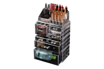 Cosmetic 7/8//9/10/11 Drawer Makeup Organizer Storage Jewellery Box Acrylic  -  8 Drawers(B)