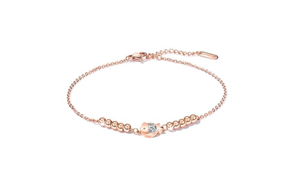 Glitzy Fish Anklet Rose Gold/Clear