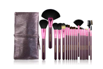 20Pcs Fashion Cosmetic Brushes With Pu Cosmetic Bags Purple