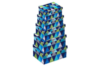 Eurowrap Triangles Oblong Boxes (Set of 5) (Blue)