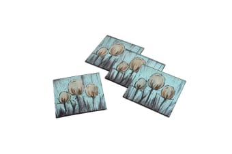 CGB Giftware Tulip Glass Square Coasters (Set Of 4) (Blue/Off White)