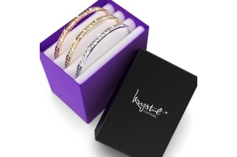 Boxed 3pc 360 Classic Bangle Set Embellished with Swarovski crystals
