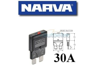 NARVA 30A CIRCUIT BREAKER REPLACES STANDARD BLADE FUSE BATTERY 30 AMP 12V 55730