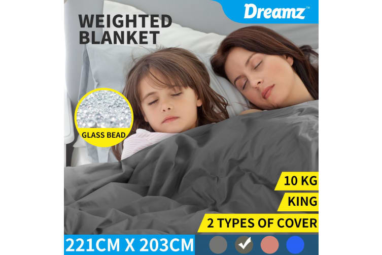 DreamZ Weighted Blanket 10KG Heavy Gravity Deep Relax Adults Cotton Cover Grey Grey, Blue, Brown, Pink