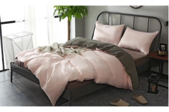 1000TC Microfibre Soft Duvet/Doo/Quilt Cover Set Pink&Grey SINGLE