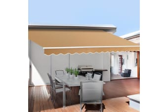 Motorised Folding Arm Awning Retractable Outdoor Beige 3X2.5M