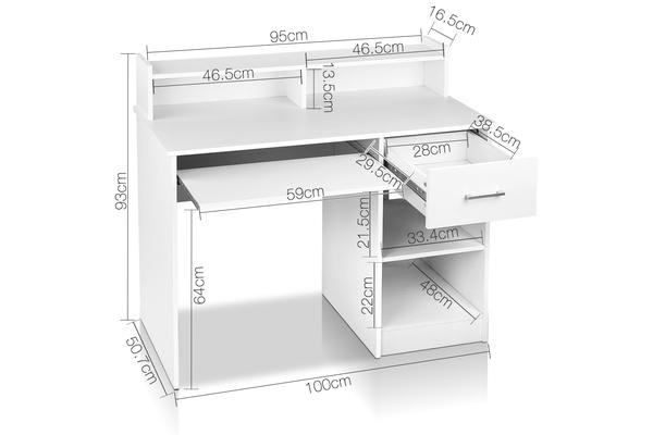 Office Computer Desk with Storage (White)