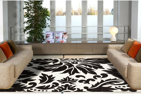 Stunning Black Off white Pattern Rug 230x160cm