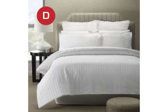 Double Size 5 Star Hotel Quality 2CM WHITE STRIPE Luxury Quilt/Doona/Duvet Cover Set