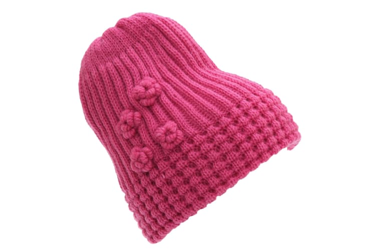 FLOSO Ladies/Womens Winter Ribbed Beanie Hat With Floral Pattern (Pink) (One Size)