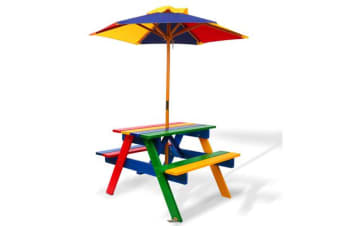 Kids Wooden Picnic Table Set with Umbrella (Multi)