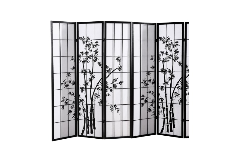 Levede 8 Panel Room Divider Screen Door Stand Privacy Fringe Wood Fold Bamboo