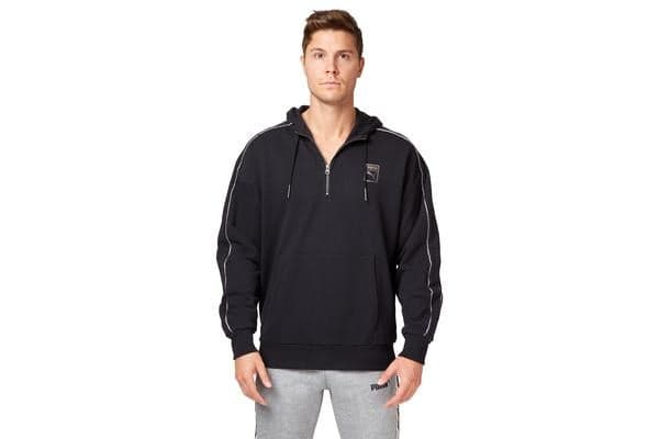 Puma Men's Chains T7 Half Zip Hoodie (Black, Size L)