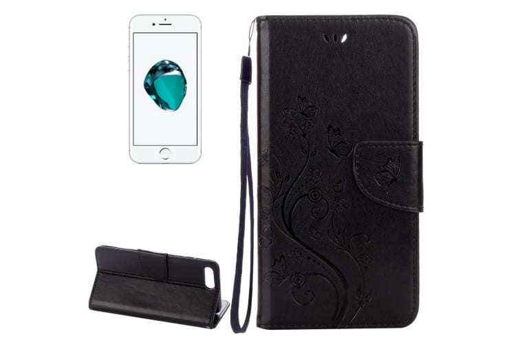 best sneakers 2ce32 eaa4e For iPhone 8 PLUS 7 PLUS Wallet Case Butterflies Emboss Leather Cover Black
