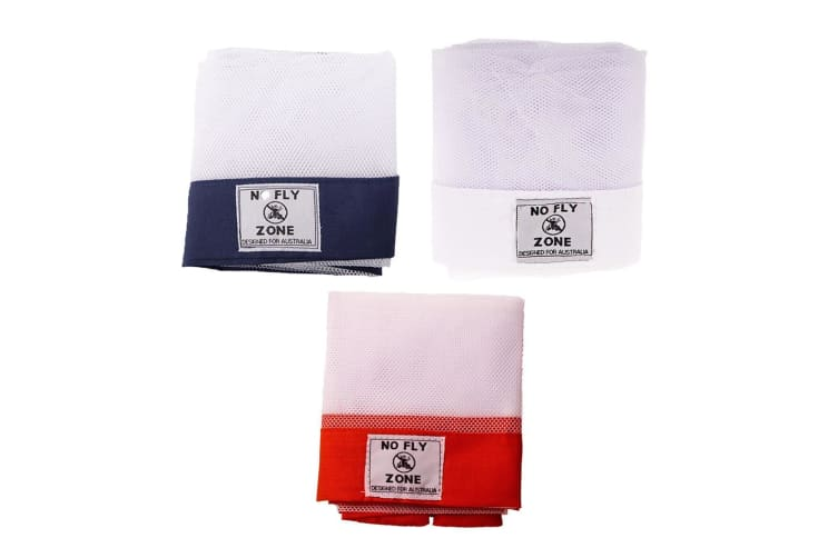 Set of 3 Appetito No Fly Zone Table Throw Mesh Food Cover Picnic Red White Navy