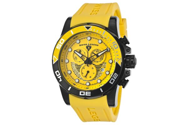 Swiss Legend Men's Avalanche Chronograph Yellow Dial Yellow Silicone (SL-21368-BB-07)