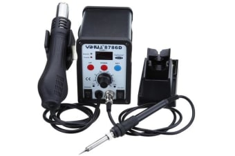 Desoldering Soldering Station Rework Smd Hot Air Gun 3 Nozzles 8786D Digital Lcd