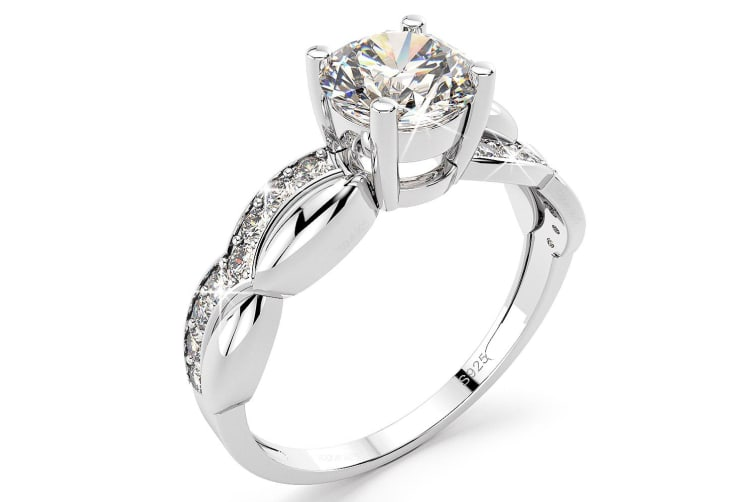 .925 Simulated Diamond Ring-Silver Size US 7