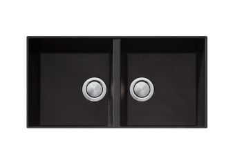 Oliveri Santorini Black Double Bowl Undermount Sink (ST-BL1563U)