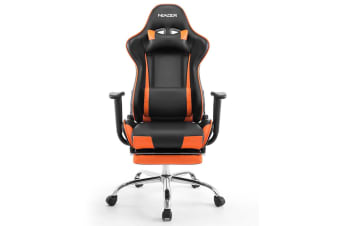 PU Leather Gaming Chair Adjustable Swivel Office Racing Seat - Orange and Black
