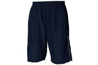 Tombo Teamsport Mens Teamwear All Purpose Longline Lined Sports Short (Navy/White)