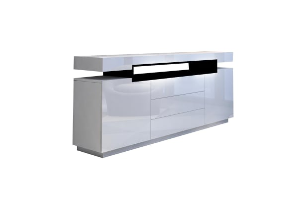 Modern Buffet Sideboard Cabinet High Gloss Storage Cupboard w/2 Doors & 3 Drawers - White