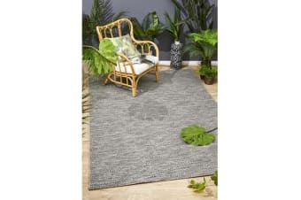 Wyatt Charcoal Grey Coastal Geometric Runner Rug 300x80cm