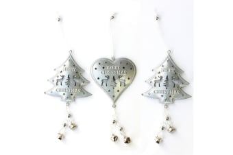 3x Silver Metal 3D Christmas Tree Ornament w Bells Reindeer Hanging Xmas Decor