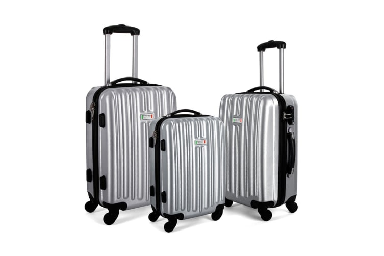 Milano ABS Luxury Shockproof Luggage 3 Piece Set (Silver)