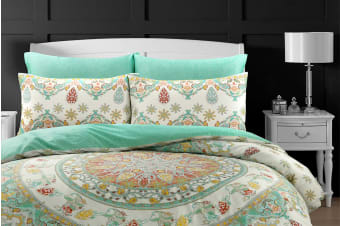 Style & Co 100 % Cotton Reversible Quilt Cover Set (Super King, Mandella)