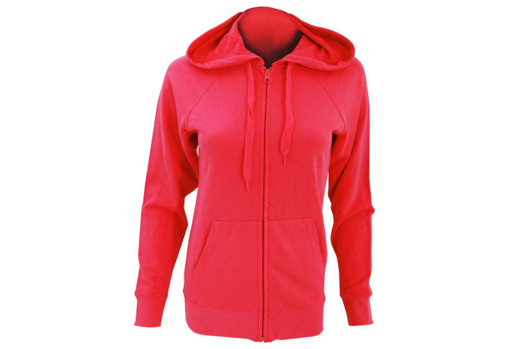 Fruit Of The Loom Ladies Fitted Lightweight Hooded Sweatshirts Jacket / Zoodie (240 GSM) (Red) (XL)