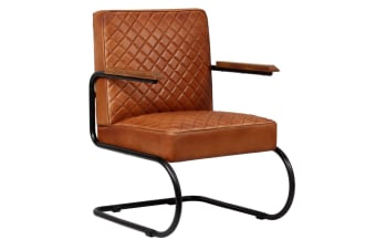 vidaXL Armchair Genuine Leather 63x75x88 cm Light Brown