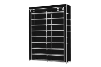 Shoe Rack Storage Organiser 2 Columns 10 Layers Non woven Fabric Cover Black