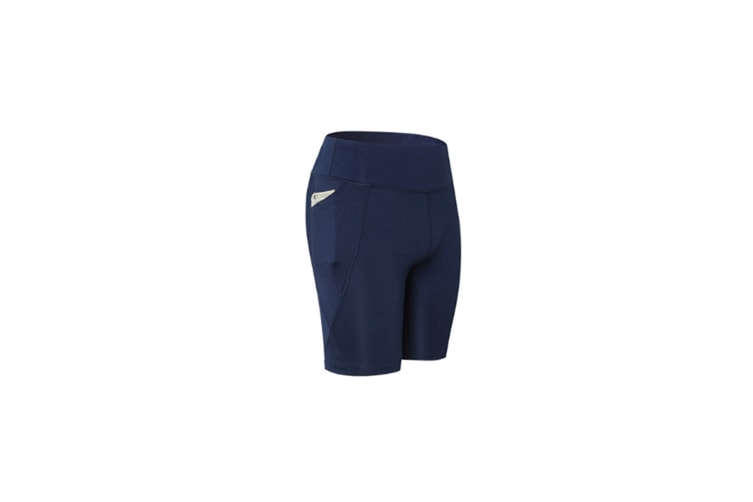 Women Performance Athletic Compression Shorts With Side Pocket - Navy Blue XL