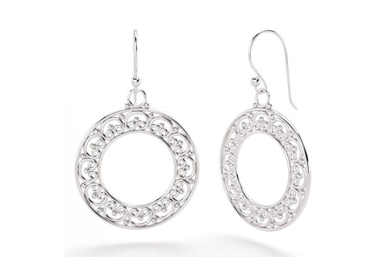 .925 Vintage Filigree Dangle Earrings-Silver