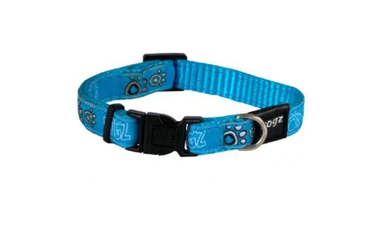 Rogz Fancy Collar Turquoise Paws - L