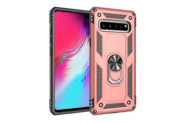For Samsung Galaxy S10 5G Case  Armour Cover 360 Rotation Holder  Rose Gold