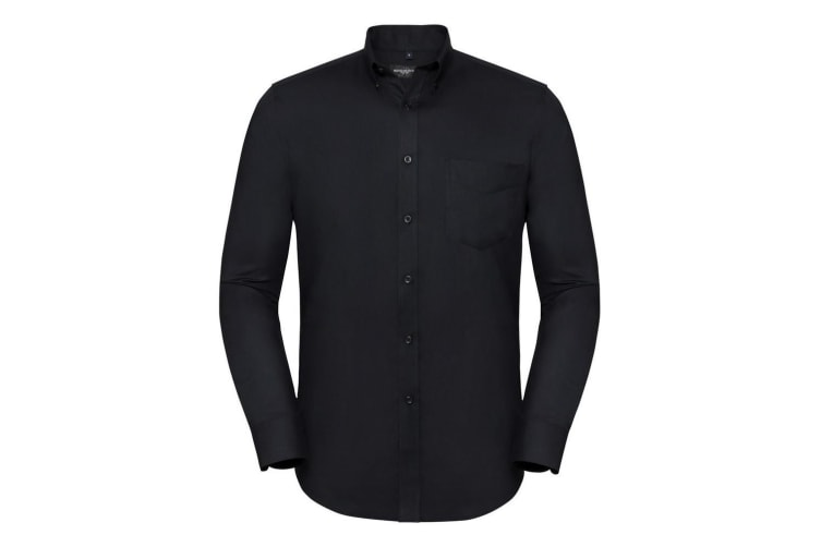 Russell Collection Mens Tailored Long Sleeve Oxford Shirt (Black) (16.5in)