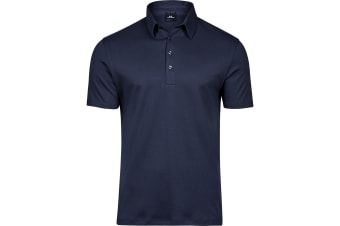 Tee Jays Mens Pima Cotton Interlock Polo Shirt (Navy) (3XL)