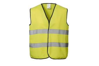 ID Unisex Hi Visibility Fluorescent Loose Fitting Worker Vest (Fluorescent yellow) (L/XL)