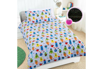 Glow in the Dark Nice to Meet You Quilt Cover Set by Happy Kids