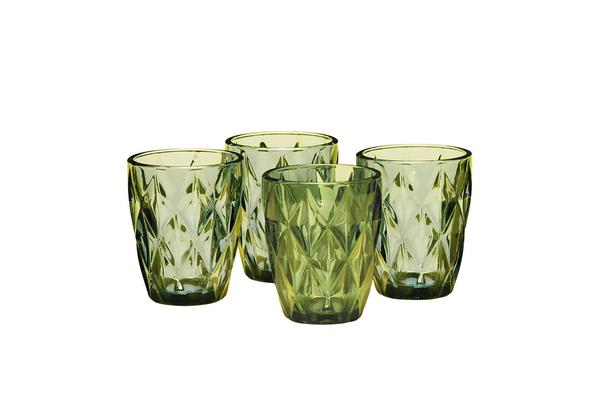 Salt & Pepper Camden Embossed Tumbler 260ml Set of 4 Green