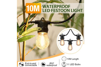 10M Waterproof LED Festoon String Lights w/11 Bulbs