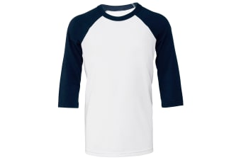 Bella + Canvas Childrens/Kids 3/4 Sleeves Baseball Tee (White/ Navy) (S)