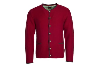 James and Nicholson Mens Traditional Knitted Jacket (Red/Anthracite Melange/Green) (L)