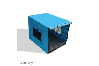 "42"" Foldable Metal Dog Cage with Cover (Blue)"