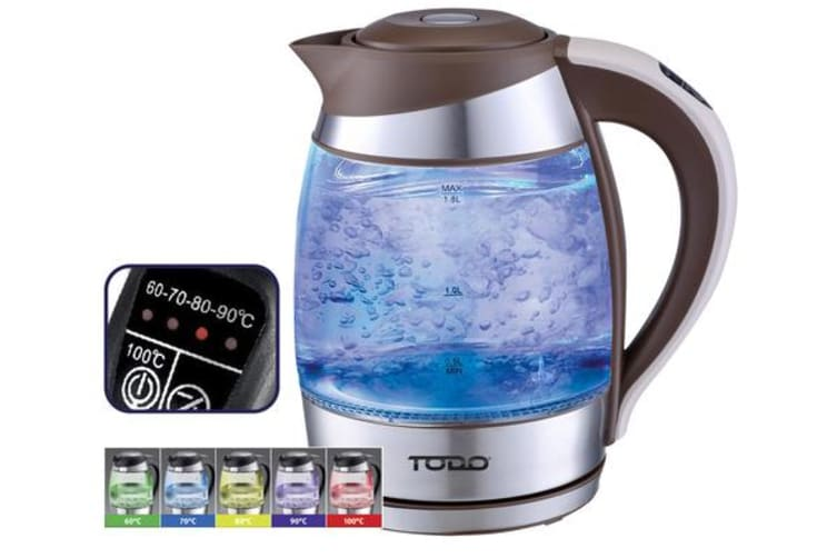 TODO 1.8L Glass Cordless Kettle Electric Blue Led Light Keep Warm 360 Jug Brown