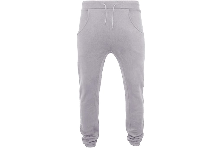 Build Your Brand Mens Heavy Deep Crotch Sweatpants (Heather Grey) (L)